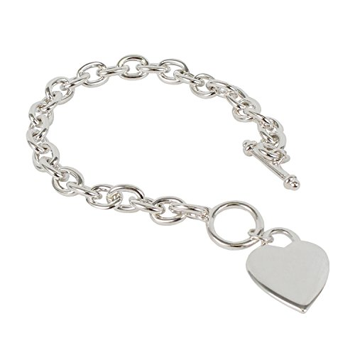 Miss Mimi Trendy Cute Heart Tag Pendant Charm Cable Chain Bracelet and Toggle Clasp Closure 8