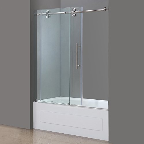 Aston TDR978-SS-60-10 60-Inch x 60-Inch Completely Frameless Tub-Height Shower Sliding Door, Stainless Steel Finish by Aston (Image #2)