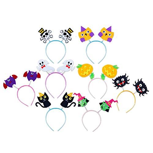 Toyvian Kids Halloween Cartoon Headband DIY Non-Woven Spring Hair Hoops Headwear for Party 8 Pieces