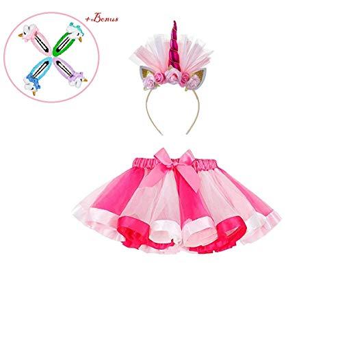 Girls Rainbow Tutus Layered Unicorn Skirt Tulle Costume for Kids Dress up with Unicorn Headband -