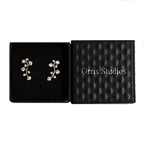 Orris Studios Galaxy Earring Cuffs Constellation Ear Crawler Set Crystal Stud Earrings Gold ()