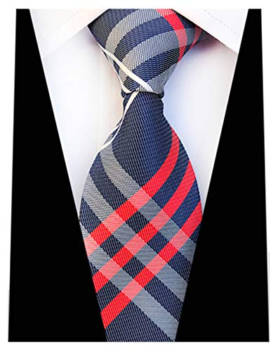 (MENDENG New Classic Striped Red Blue Ties Jacquard Woven Silk Men's Tie Necktie)