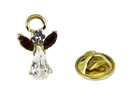 6030597 January Crystal Birth Month Angel Pin Guardian Lapel Brooch Tie ()