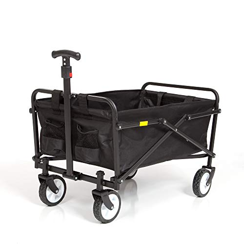 Seina Collapsible Folding Wagon | Utility Cart, Portable, Lightweight, Fold up, for Groceries, Laundry, Sports, Baseball, Softball, Fishing and Camping, with Carry Case, Black