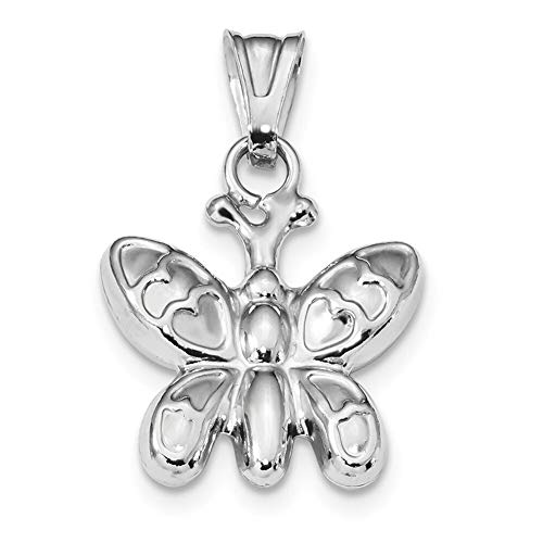 - Lex & Lu Sterling Silver w/Rhodium Polished Puffed Butterfly Charm-Prime