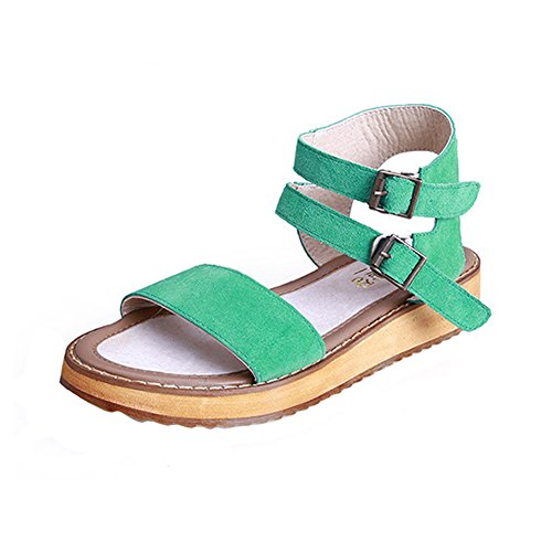 H&W Girls Suede Leather Flat Sandals Open Toe Buckle Ankle Strap Gum Rubber Soles Green Qy998C5x