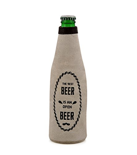 Beer Bottle Zipper Sleeve Insulated Covers, Coolies, Ultra Slim Vintage Coolers, Party, Canvas, Leather, Bottlekeeper by Daphne ()