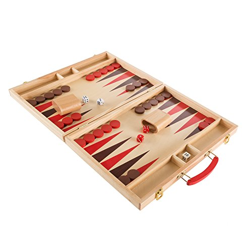 Hey!Play! 80-Hch-BK Wooden Board (Folding Wood Backgammon Set)