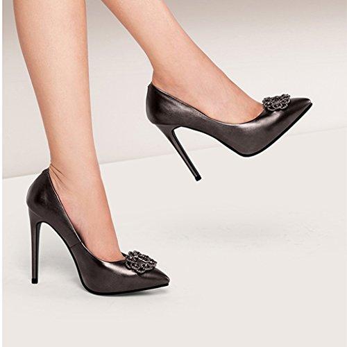 Wysm Chaussures Simples 11cm Haut Talon Femme Fine Avec Pointes de Diamants Sexy Pointue Chaussures Peu Profondes Noir rDVqYH