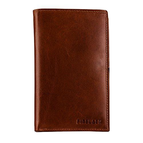 Finelaer Men Brown Leather Coat Bifold Long Wallet