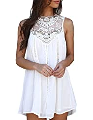 Luca Lace Solid Vest Casual Stitching O-Neck Sleeveless Loose Above Knee Dress Loose Chiffon Mini Dress