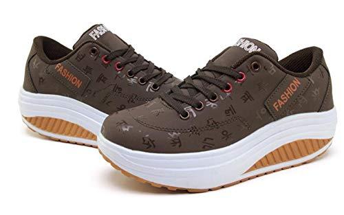 DETAIWIN Womens Casual Walking Shoes Waterproof Lace Up Comfortable Slip On Platform Wedge Outdoor Sneakers]()
