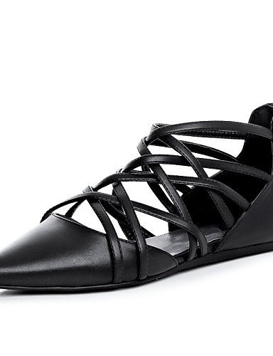 ShangYi Women's Shoes Leather Flat Heel Pointed Toe Flats Outdoor / Casual Black