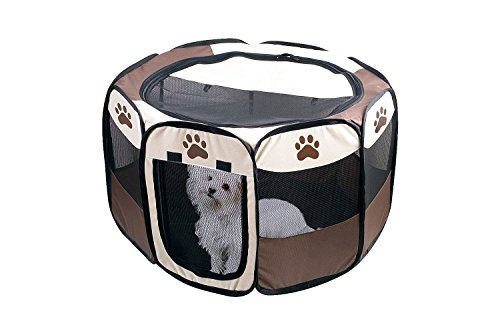 Etna Portable Foldable Pet Playpen for Dogs, Paw Print - Indoor and Outdoor Use, Small/Medium Sized Pets - Pop-Up, Traveling, Kennel Design, Ideal for Keeping Pets Safe and Secure - 29 x 17 Inches (Maltipoo Accessories)
