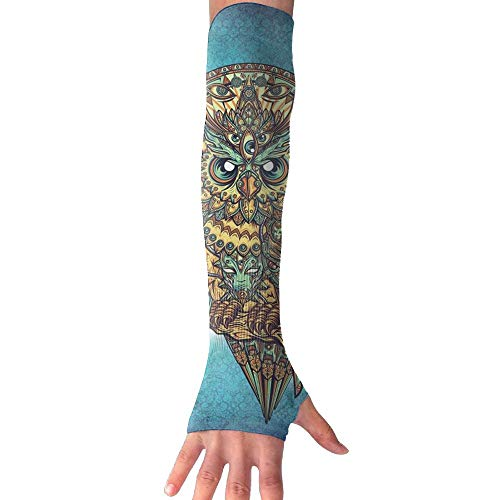 QG ZZX Ethnic Owl Unisex Compression Arm Sleeves UV Protection Performance Arm Sleeve - for Outdoor Sports Baseball,Basketball,Football (1 Pair)