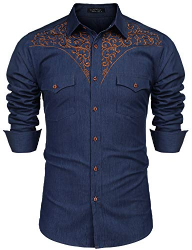 COOFANDY Men's Long Sleeve Floral Embroidered Shirts Western Denim Button Down Shirt (Embroidered Mens Denim Long Sleeve)