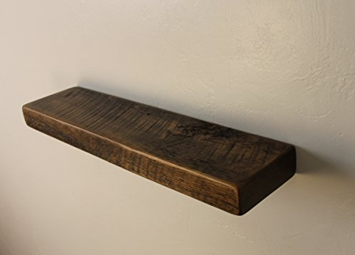 "24"" W X 6"" D X 2"" H, Mocha, Rustic, Floating Wood Shelf, Solid Pine, Wooden, Shelves, Industrial, Dark Chocolate, Espresso"
