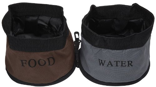 Travel Waterer (PET LIFE 'Dual Folding' Waterproof Food and Water Collapsible Folding Travel Pet Cat Dog Bowl Feeder Waterer Fountain, One Size, Camouflage)
