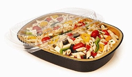 3 lb. Oblong BLACK & GOLD Aluminum Take-Out Pan w/Clear Dome Lid by Osislon Series