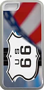 Rikki KnightTM Route 66 Design iPhone 5c Case Cover (Clear Rubber with bumper protection) for Apple iPhone 5c