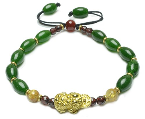 Elegant Cute Fortune Frog(17x10x7mm)Green Oval Jade Beaded Bracelet - Fortune Feng Shui Jade ()