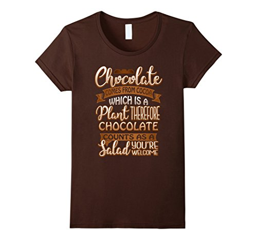 Womens Chocolate Counts As Salad Large Brown
