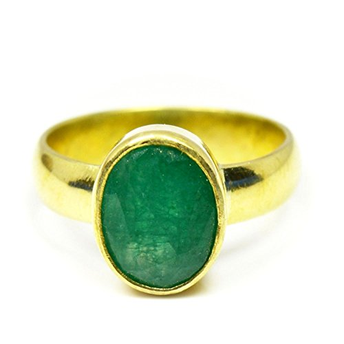 Natural Emerald Green (55Carat Natural Emerald Panchdhatu Ring For Women 7 Carat Oval Birthstone Size 5,6,7,8,9,10,11,12,13)
