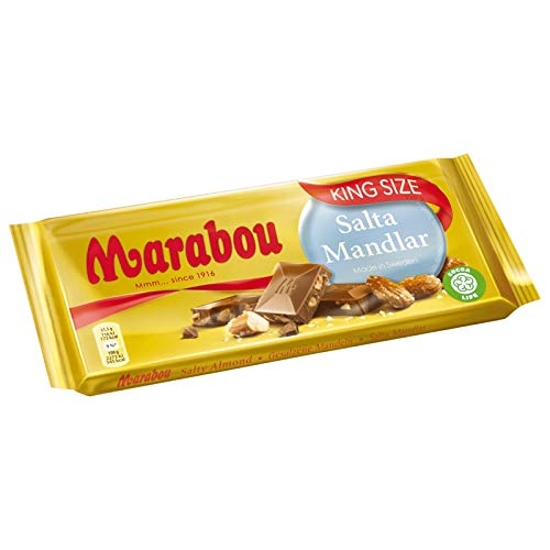 Marabou Salta Mandlar Salty Almond Chocolate Bar Candy Original Swedish King Size Chocolate 220g/7.76oz