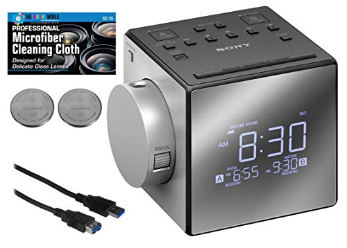 Sony ICF-C1PJ Alarm Clock with AM/FM Radio, Time Projection, Soothing Nature Sounds, Extendable Snooze, LED Display with Adjustable Brightness, USB Port and Built-in Calendar + Extra Batteries + Cable (Sony Am Fm Alarm Clock)