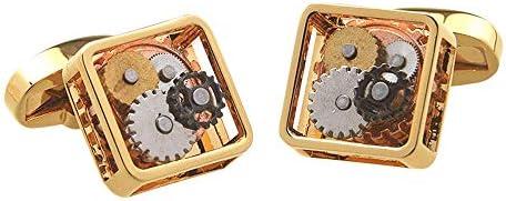 カフス バレンタインフェスティバルの誕生日記念日の卒業のギフトの古典的な設計のための正方形の腕時計の動きの形のカフスボタン スーツ 礼服 ビジネス パーティー (Color : Silver, Size : 15×15×6.5mm)