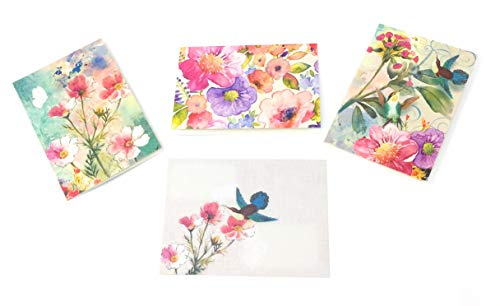 Punch Studio (14529) Hummingbird Paradise Blank Glitter Note Cards in Tri-Fold Vinyl Sleeve, 15 ct (5 ea of 3 designs)