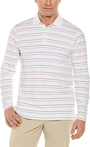 Coolibar UPF 50+ Men's Long Sleeve Weekend Polo Shirt - Sun Protective (X-Large- White Multicolor Stripe)