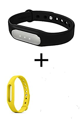 Original Xiaomi Mi Band Smart Bracelet for Xiaomi Mi4 M3 Miui Iphone 4s 5 5c 5s 6 6 Plus Samsung and Other Smart Phone with Android System 4.4 Smart Fitness Wearable Tracker Waterproof Wristband (black(with tracker)+yellow(no tracker))
