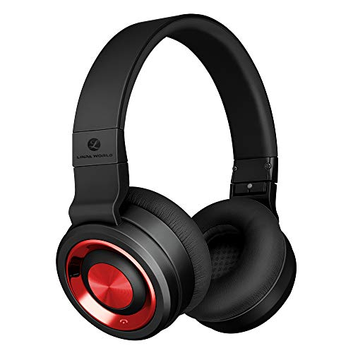 LINPAWORLD M1 Wireless Headphones with Graphene Driver Hi-Fi Stereo and Long Battery,Over Ear Noise Cancelling Bluetooth Headset,Comfort and Foldable for Cell Phone/PC/TV (Black Red)