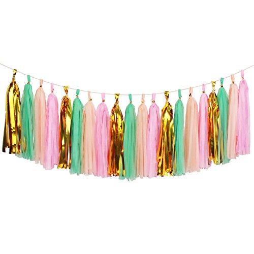 Koker 20 PCS Shiny Tassels Garland - Tissue Paper Tassels Banner for Wedding, Baby Shower, Festival Party Wall Decoration -