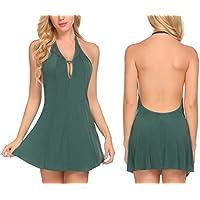 Zouvo Women Lingerie Lace Nightgown Halter Mini Sleepwear Backless Babydoll Chemise S-XXL
