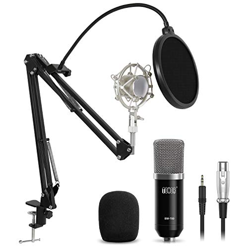 - TONOR Professional Studio Condenser Microphone Computer PC Microphone Kit with 3.5mm XLR/Pop Filter/Scissor Arm Stand/Shock Mount for Professional Studio Recording Podcasting Broadcasting, Black