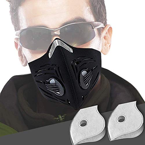 CFORWARD Dustproof Mask Activated Carbon Filtration Exhaust Gas Anti Pollen Allergy PM2.10 Face Mask for Running Cycling and Other Outdoor Activities(591YT)