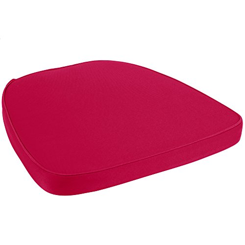 Chair Pad | Seat Padded Cushion with a Polycore Thread Soft Fabric with Straps and Removable Zippered Cover (Wine Red) (Oak Chairs Circular Table And Dining)