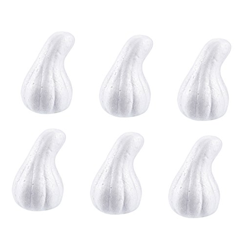 Craft Foam - 6-Pack Gourd Shaped Foam Ball for DIY Crafts Project, Kids Art Class, Halloween and Thanksgiving Pumpkin Decoration, White Polystyrene Foam, 3 x 5 x 2.7 inches