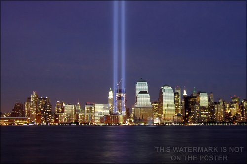 42x63 Poster; World Trade Center Memorial Tribute In Light Viewed From Jersey City On The Anniversary Of The Attacks In 2004