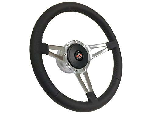 (1967-1968 Firebird 9 Bolt Tri Slot Spoke Black Leather Steering Wheel Kit, Hub, Horn Button & Classic Emblem (Firebird Emblem correct for 1967, 1968, 1969))