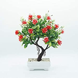 helegeSONG Fake Flowers Silk Plastic Artificial Plant 1Pc Potted Artificial Flower Tree Bonsai DIY Stage Garden Wedding Party Decor for Home,Office,Wedding,Garden, Gift, Desk, Hotel - Rose Red 5