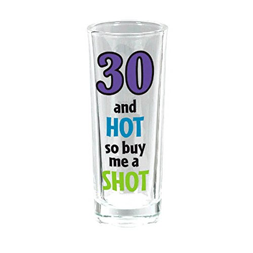 30th Amscan The Party Continuous 50th Birthday Party  50 & Hot So Buy Me A Shot , Purple Teal Green, 3 Oz, Glass Party Supplies 30th 3 Ounce