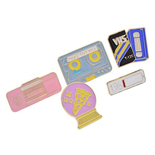 Cute Enamel Breastpin Paper Crane Collar Brooch Book Note Bottle Lapel Pin 1 (Vhs Pin)
