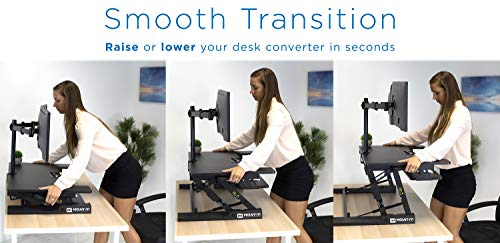 Mount-It! Standing Desk Converter with Bonus Dual Monitor Mount Included - Height Adjustable Stand Up Desk - Wide 36 Inch Sit Stand Workstation with Gas Spring Lift- Black (MI-7934) by Mount-It! (Image #3)