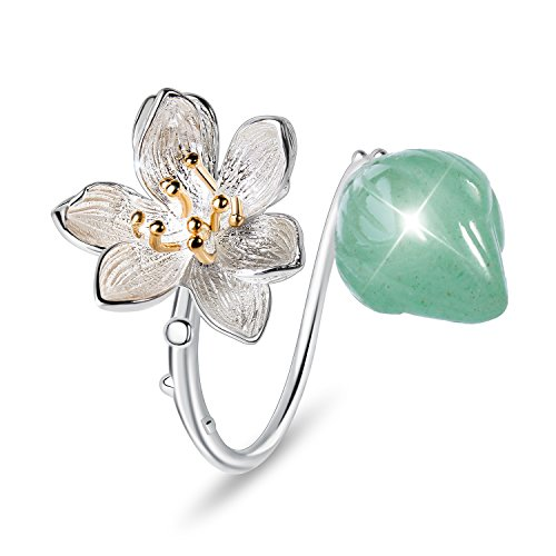 Lotus Fun S925 Sterling Silver Flower Rings Lotus Whispers Open Ring Handmade Natural Jewelry Unique Gift for Women and Girls (Green)