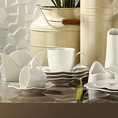 Turkish Coffee Cup & Saucer Set - 12 Piece, 6 Coffee Cup & 6 Saucers - Set for Coffee Espresso, Latte, Coffee - Traditional Design - Fortune White Handle Rough Shape Wave Coffee MLN12KT0014 Cream ()