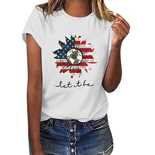 Independence Day Sunflower Printed T Shirts Womens Casual Short Sleeve Tees Summer Loose Blouse Tops White