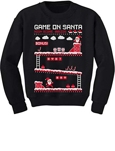 Video Game Santa 8bit 80's Vintage Ugly Chritsmas Gamers Toddler/Kids Sweatshirt 2T ()